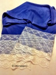 blue jersey scarf with two layer lace