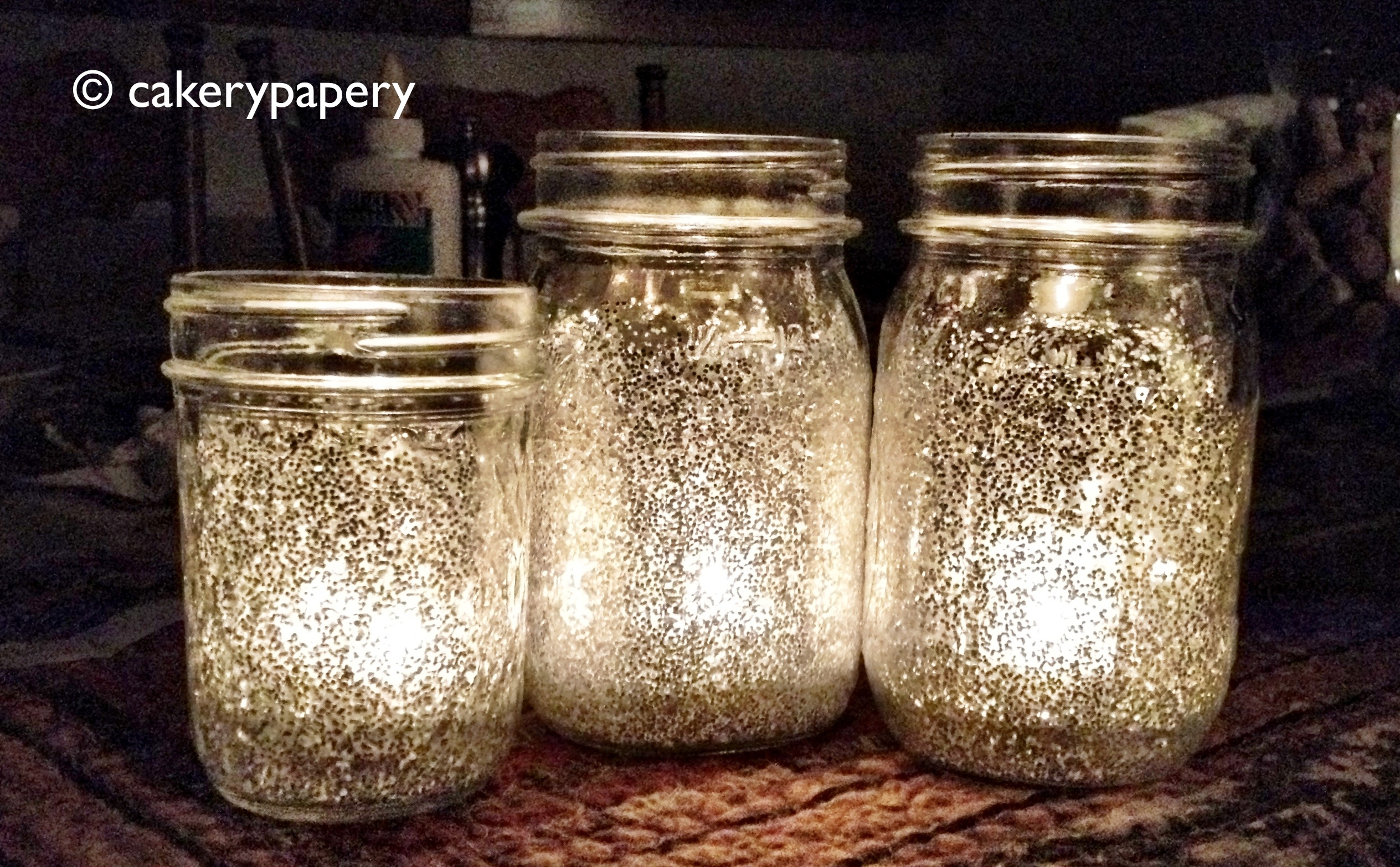 Festive Holiday Diy Glitter Mason Jar Candles Cakerypapery