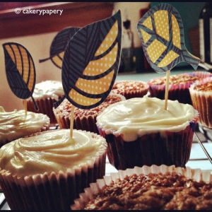 DIY Window Leaf Cupcake Flags on Carrot Cake