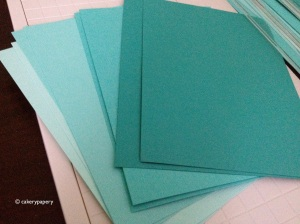 A6 trimmed Tiffany blue cards